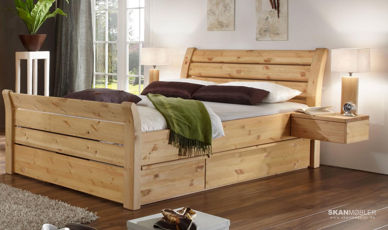 schlafzimmer bett greta kiefer massiv von pinus g nstig. Black Bedroom Furniture Sets. Home Design Ideas