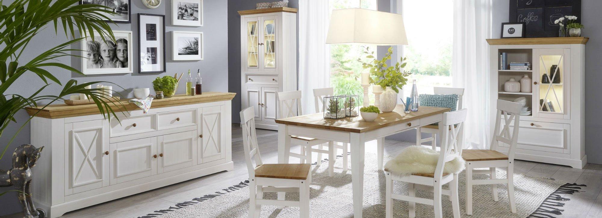 Landhaus Wohnzimmer Esszimmer Möbel Serie Viborg | SKANMØBLER