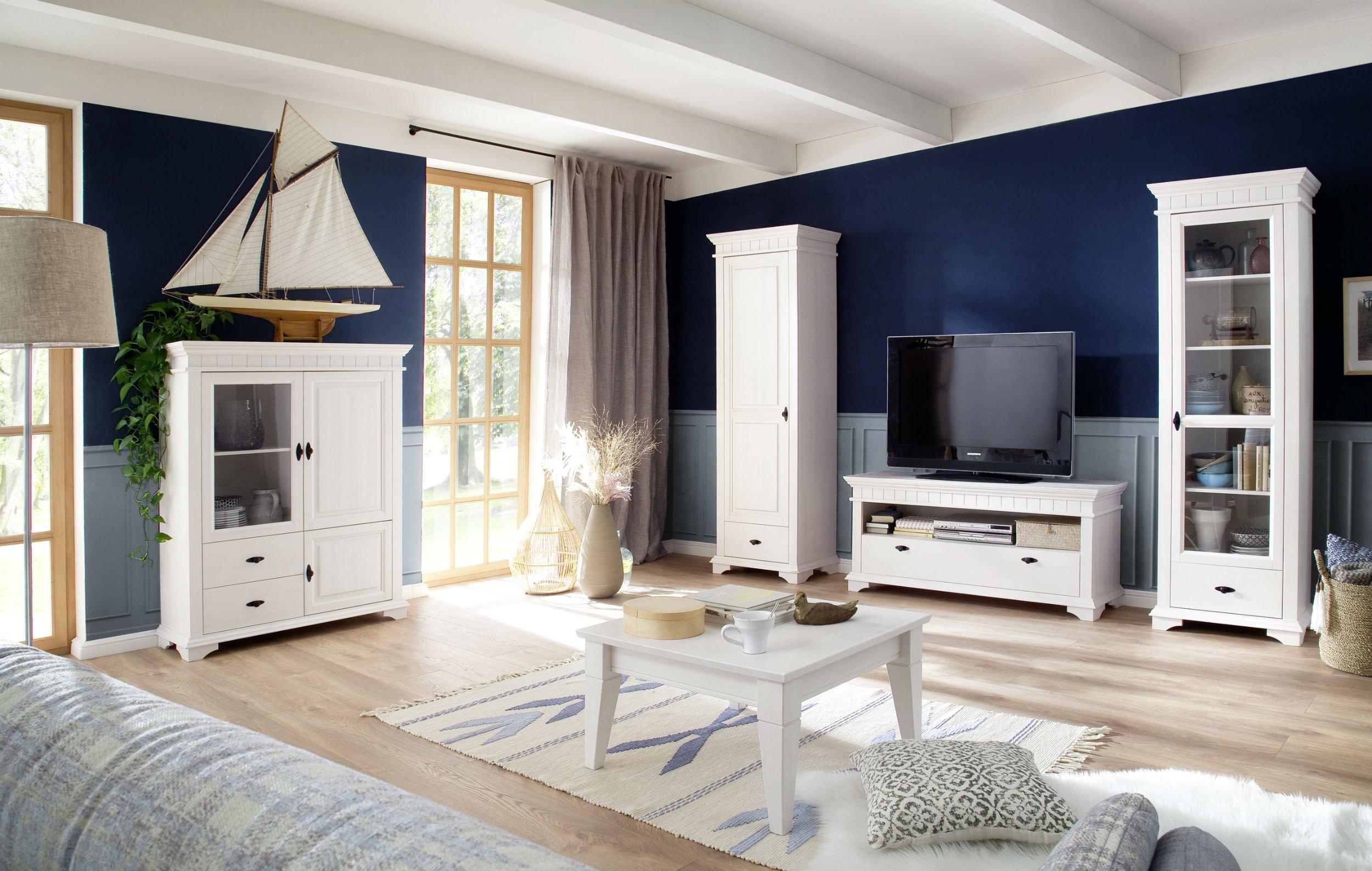 Wohnzimmer Esszimmer Möbel Lyon Massivholz weiß, Bild 1