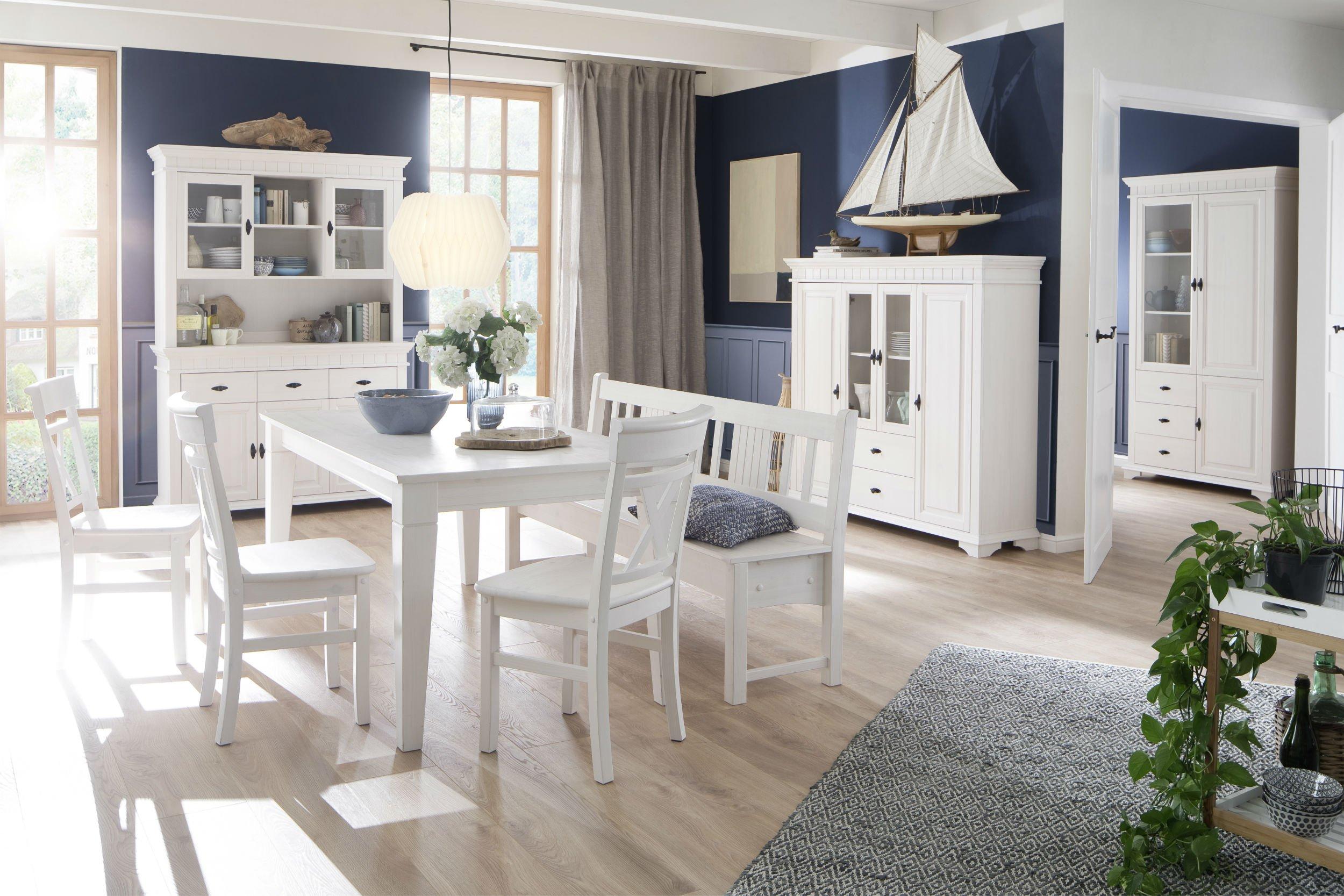 Wohnzimmer Esszimmer Möbel Lyon Massivholz weiß, Bild 2