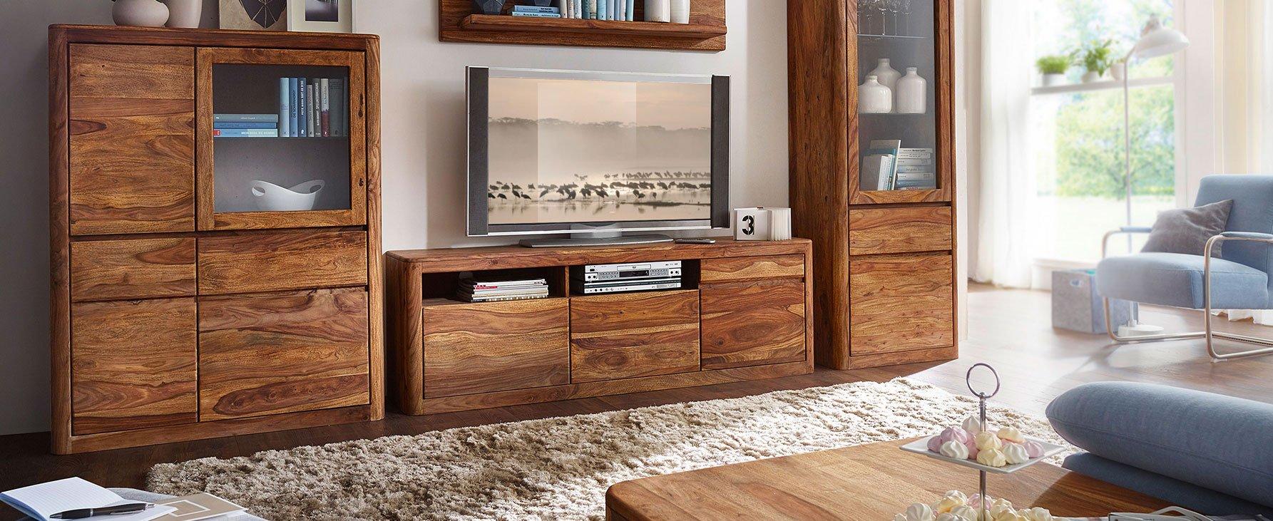 Wohnzimmer Esszimmer New York aus Sheesam Holz, Bild 2