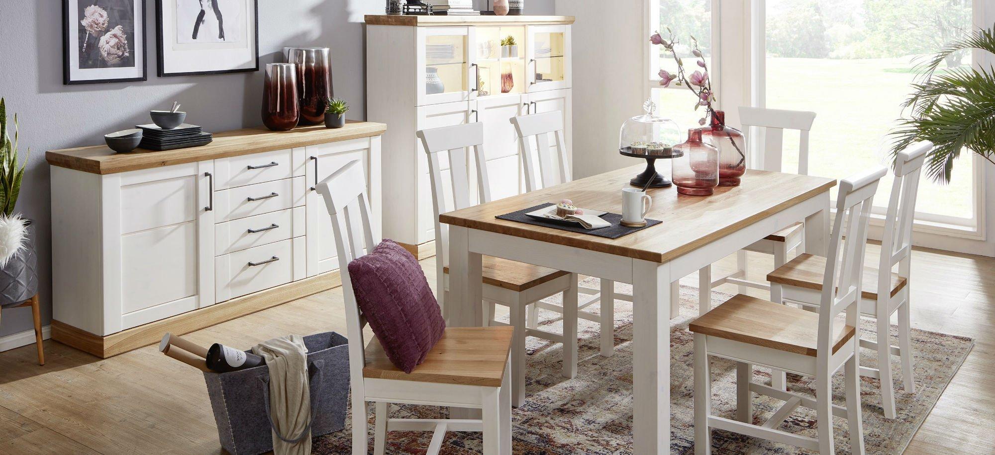 Wohnzimmer Speisezimmer Hagebro Kiefer Massiv weiß, Bild 1