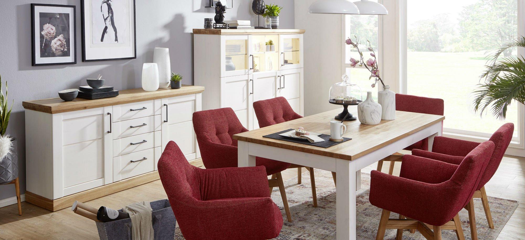 Wohnzimmer Speisezimmer Hagebro Kiefer Massiv weiß, Bild 2