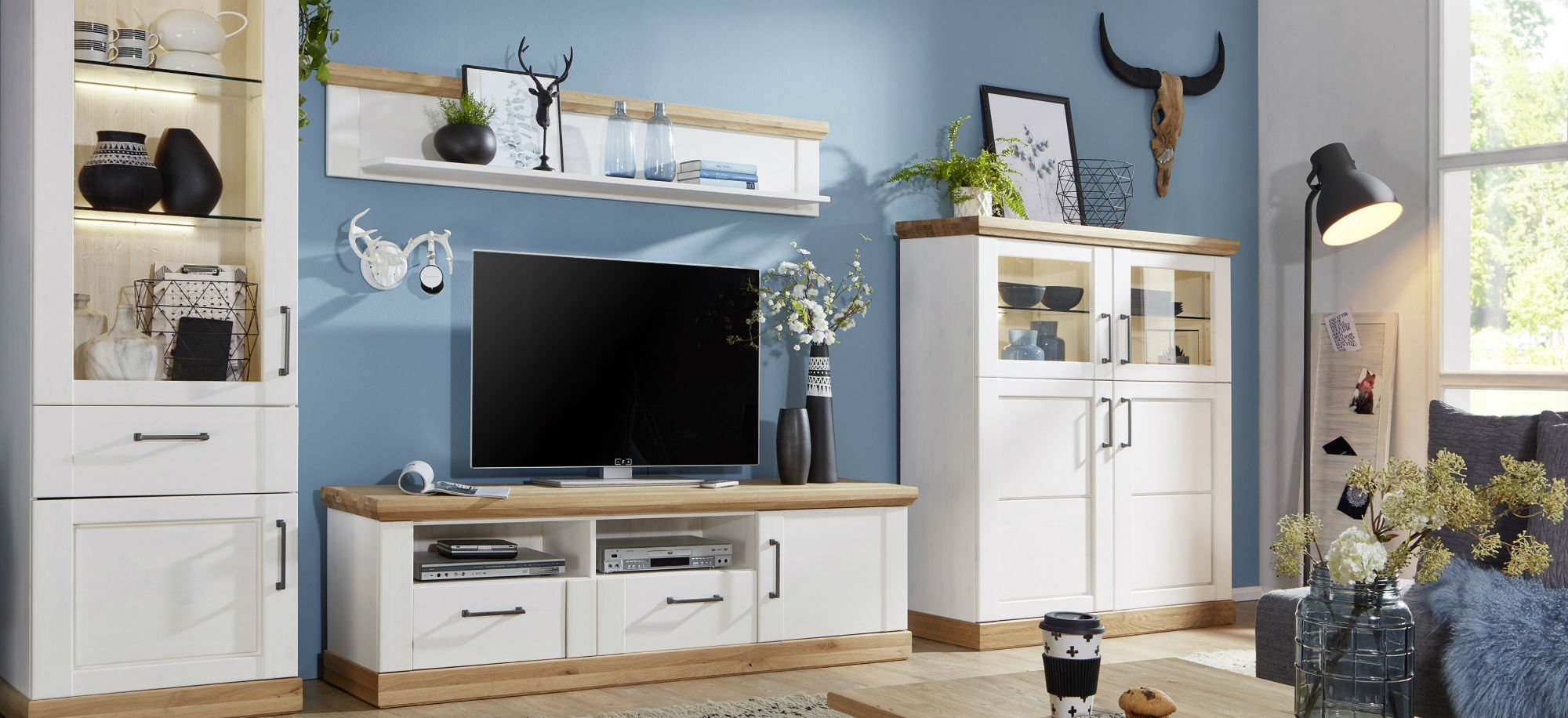 Wohnzimmer Speisezimmer Hagebro Kiefer Massiv weiß, Bild 3