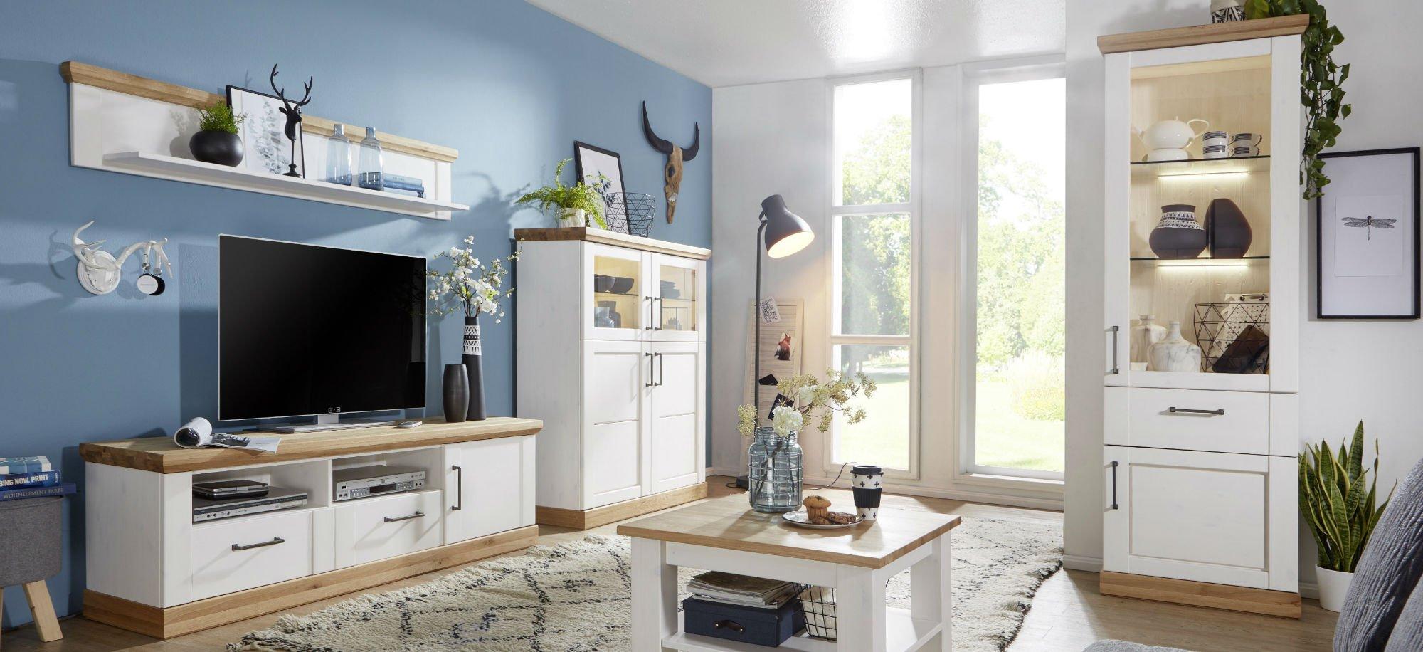 Wohnzimmer Speisezimmer Hagebro Kiefer Massiv weiß, Bild 4