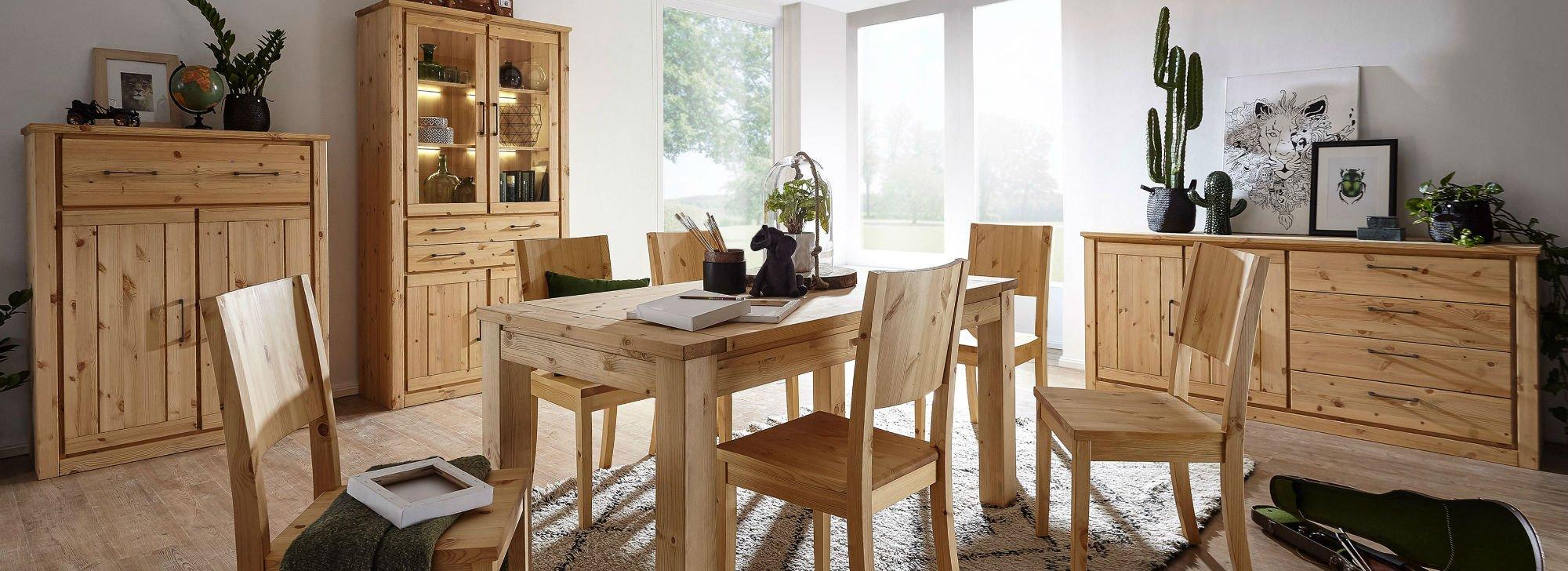 Wohnzimmer und Esszimmer Serie Molde Kiefer Massiv, Bild 2