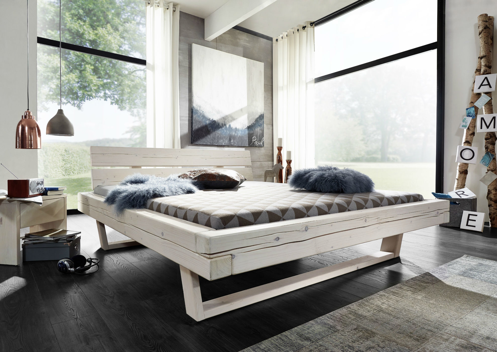balkenbett massivholz wei lasiert von g k g nstig bestellen skanm bler. Black Bedroom Furniture Sets. Home Design Ideas