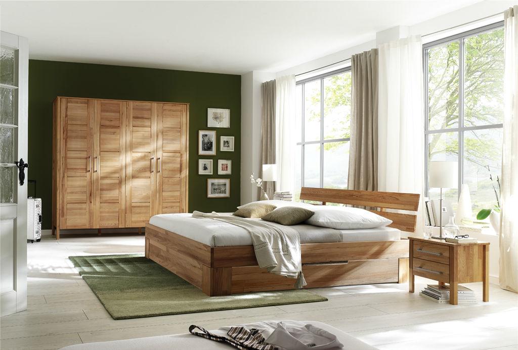 Massivholz Schlafzimmer Bett Modern Zen XT mit Unterbausatz