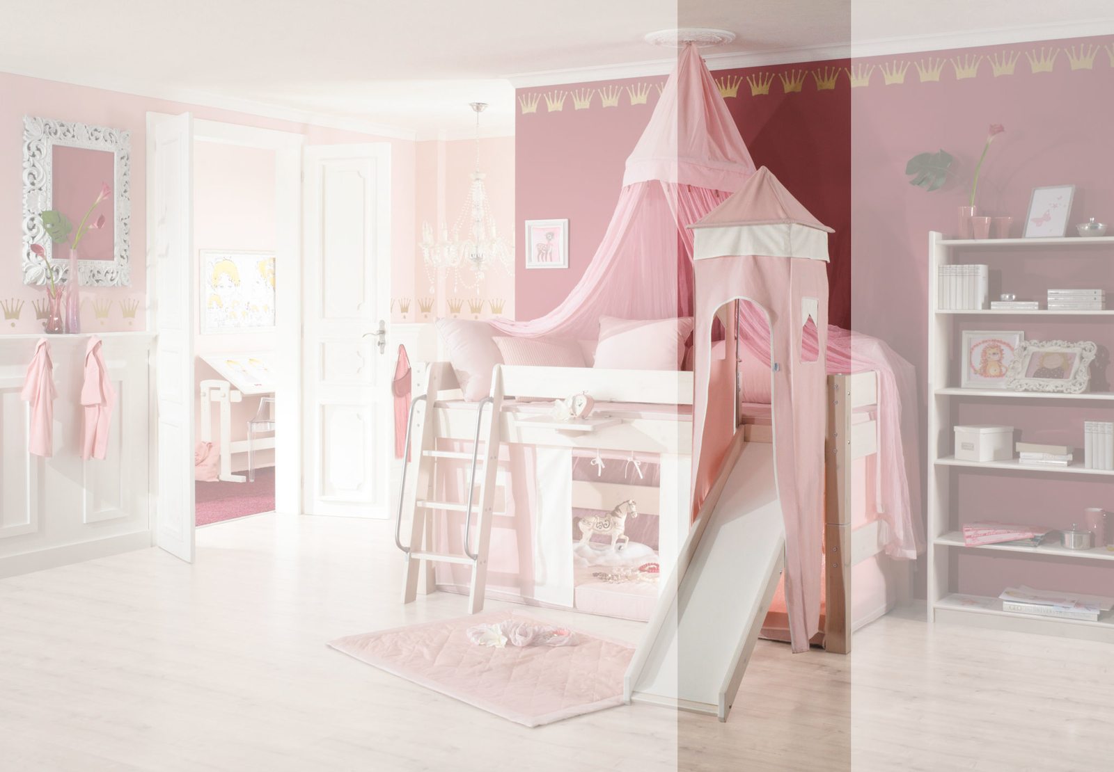Dolphin Moby halbhohes Prinzessinnenbett mit Himmel, weiß-rosa, Bild 5