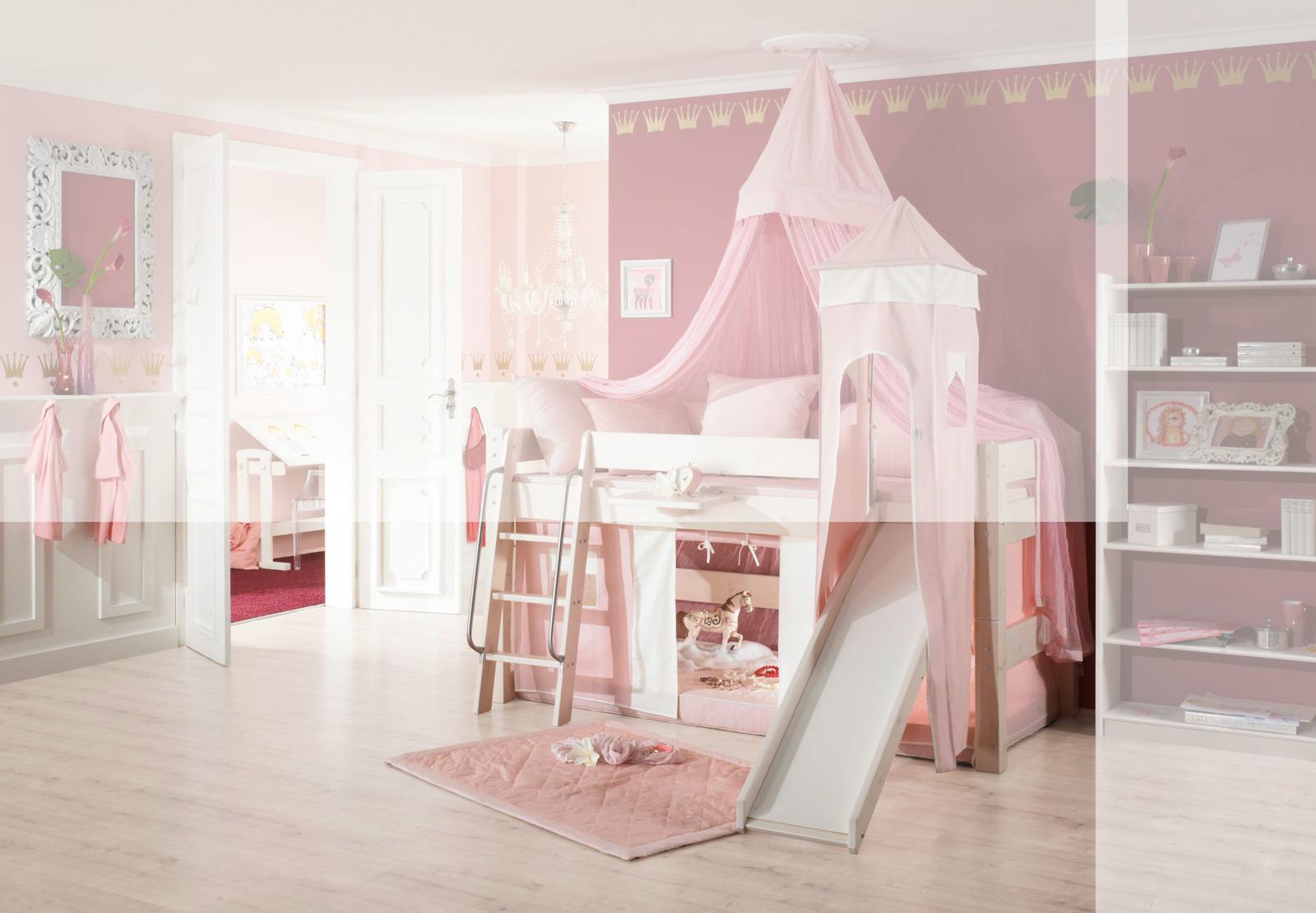 Dolphin Moby halbhohes Prinzessinnenbett mit Himmel, weiß-rosa, Bild 6