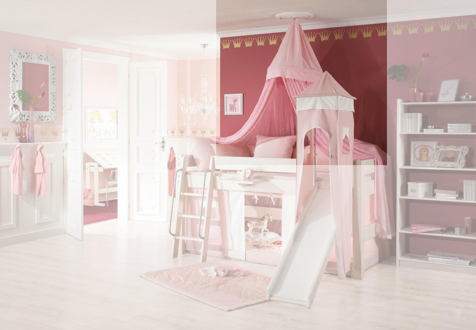 Dolphin Moby halbhohes Prinzessinnenbett mit Himmel, weiß-rosa, Bild 7