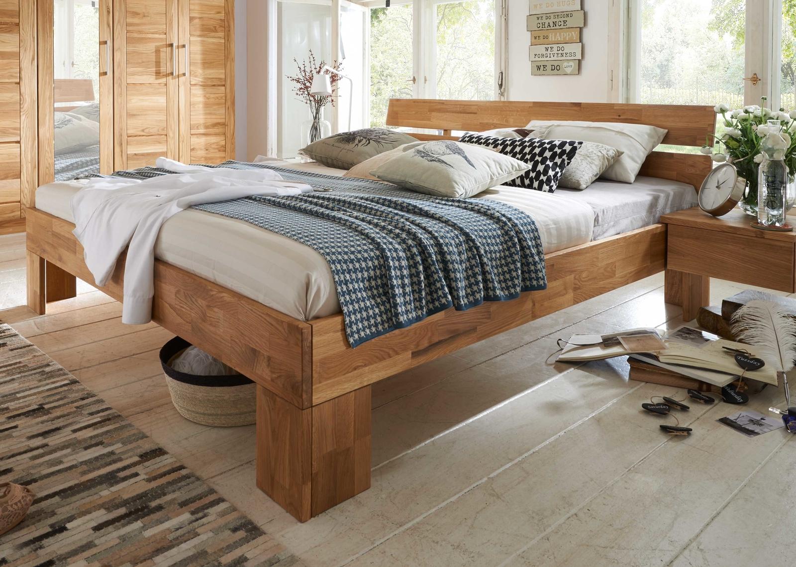 Doppelbett Schlafzimmer Wildeiche Massiv NECST
