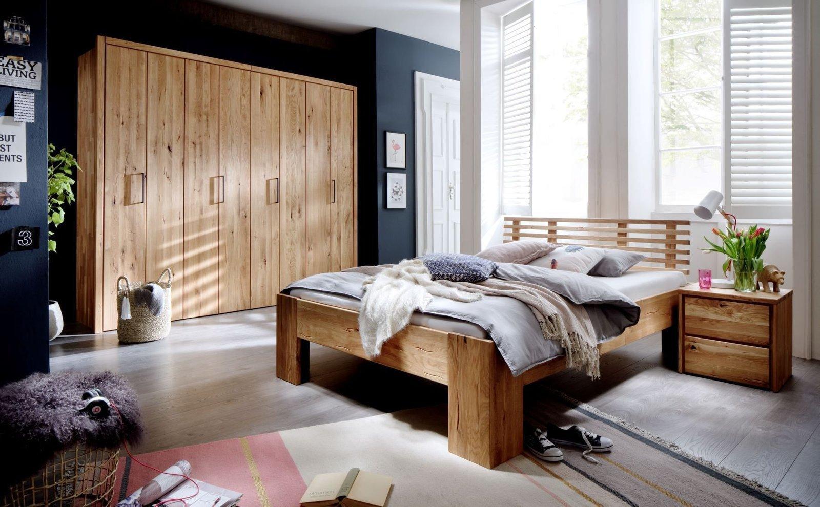 Schlafzimmer Doppelbett Wildeiche Massivholz Rödemis I, Bild 3