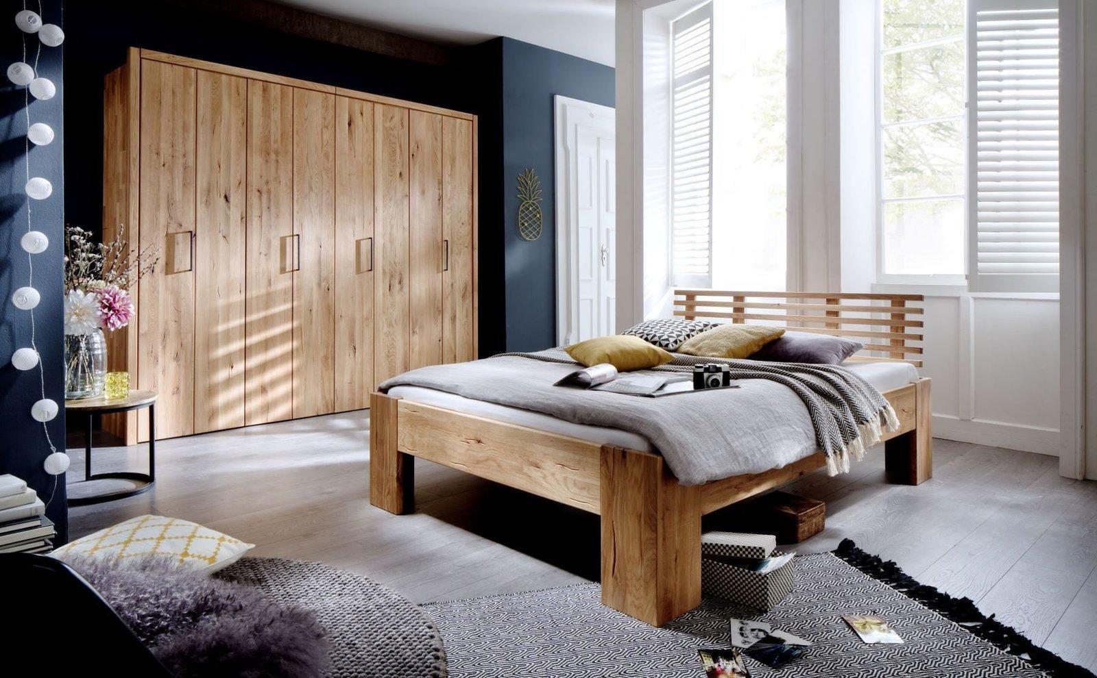 Schlafzimmer Doppelbett Wildeiche Massivholz Rödemis I, Bild 4