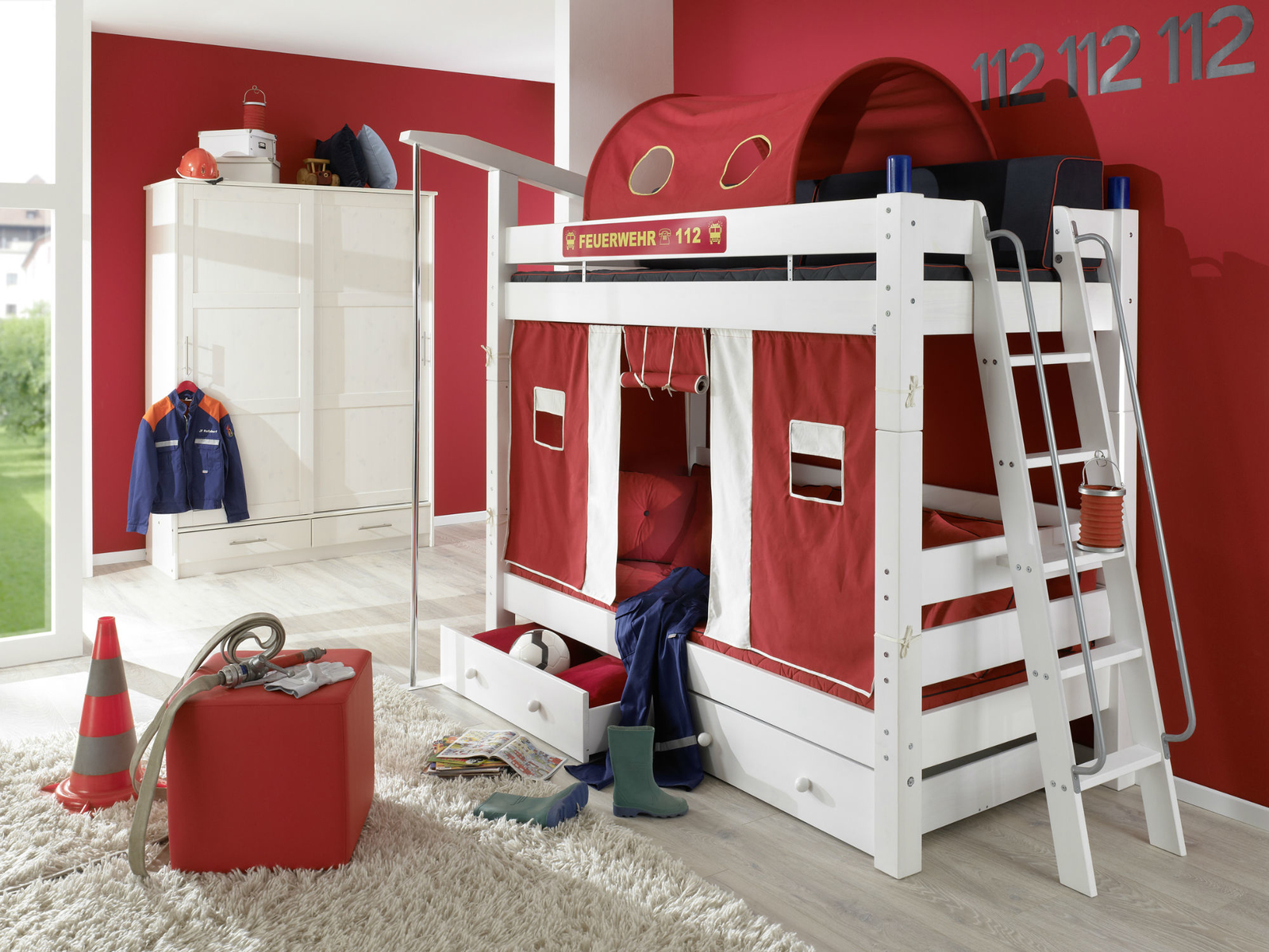 feuerwehr etagenbett moby f r kinder von dolphin g nstig. Black Bedroom Furniture Sets. Home Design Ideas