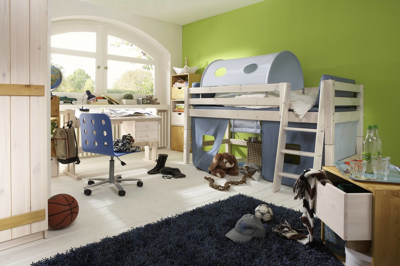 halbhohes hochbett infans mit spielh hle wei kiefer massiv von infanskids g nstig bestellen. Black Bedroom Furniture Sets. Home Design Ideas
