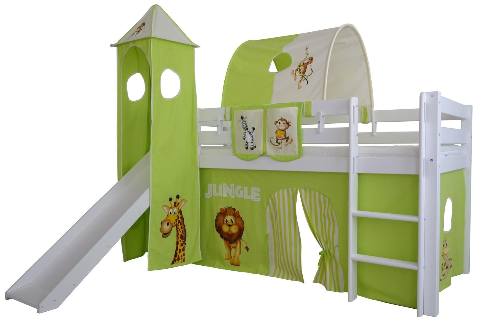 Halbhohes Kinder Abenteuer Hochbett Dschungel Massivholz mit Leiter und Rutsche, Bild 2
