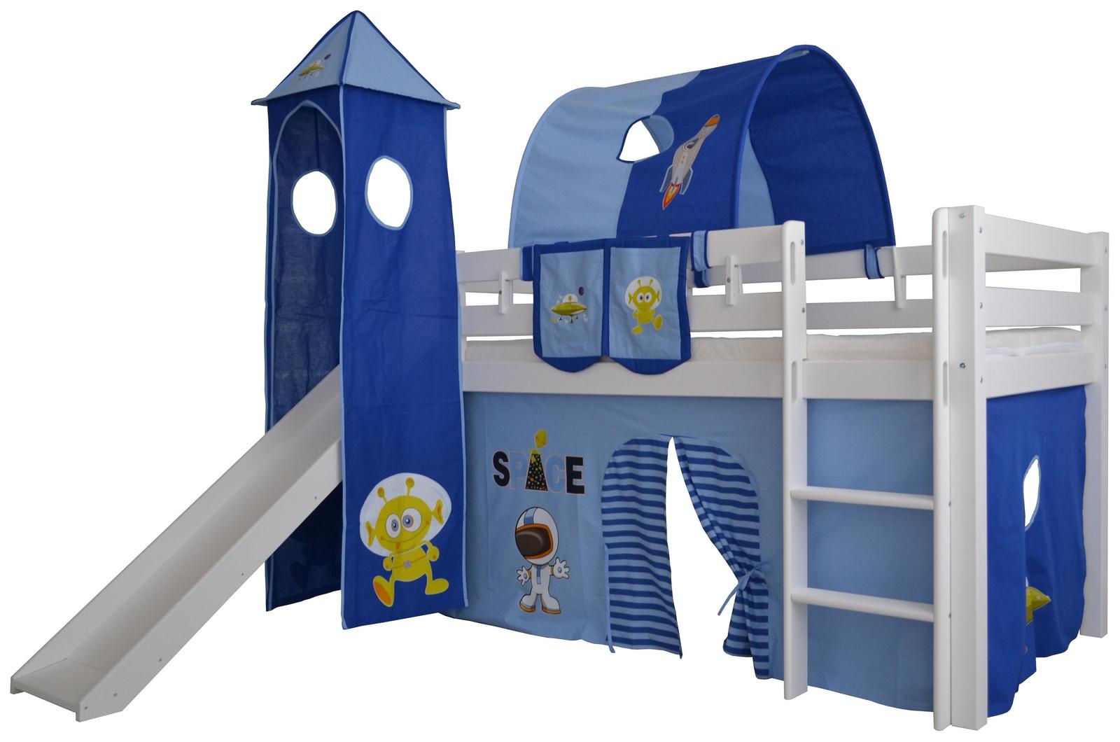 Halbhohes Kinder Abenteuerbett Space Massivholz mit Leiter und Rutsche