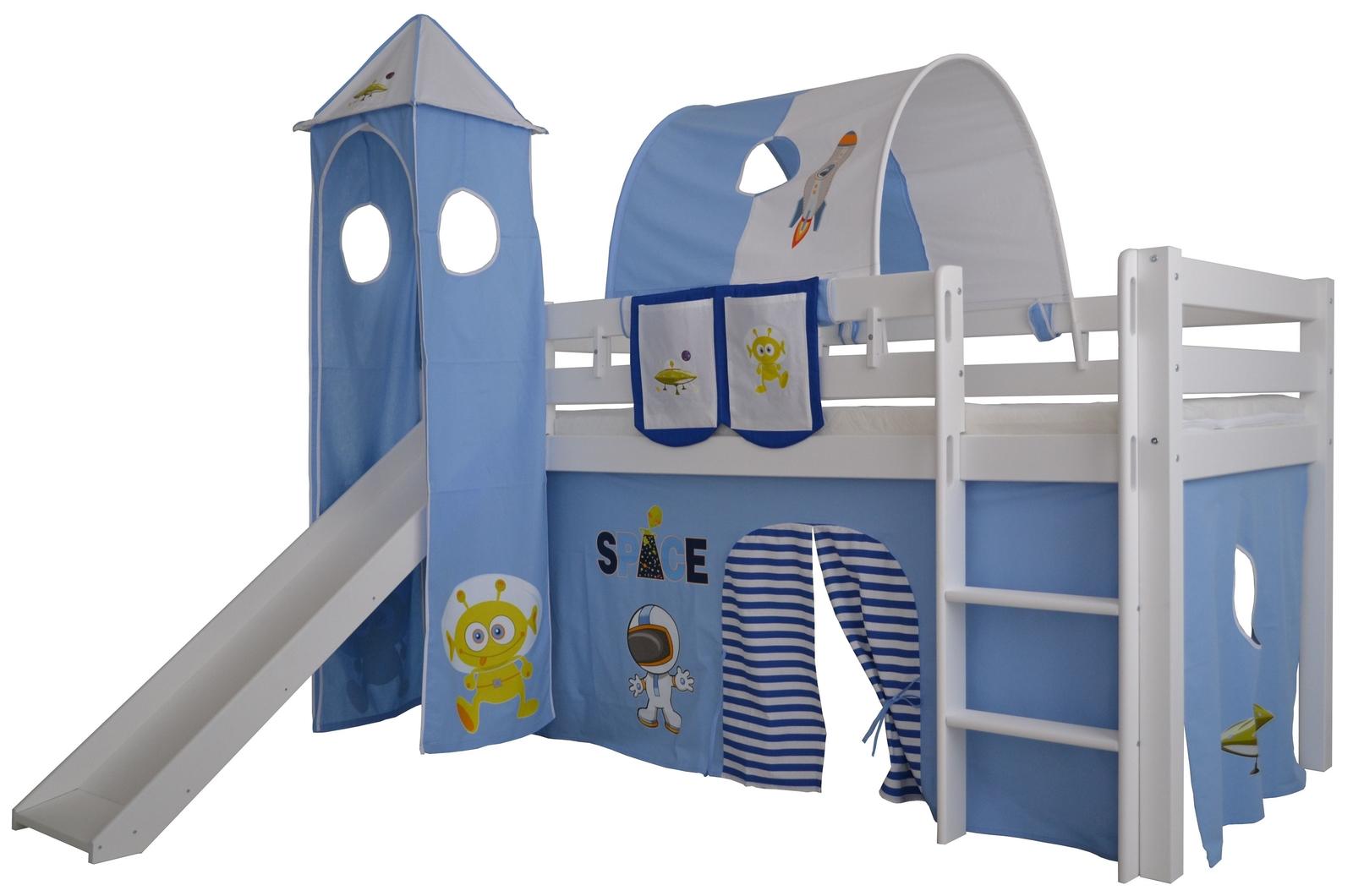 Halbhohes Kinder Abenteuerbett Space Massivholz mit Leiter und Rutsche, Bild 2