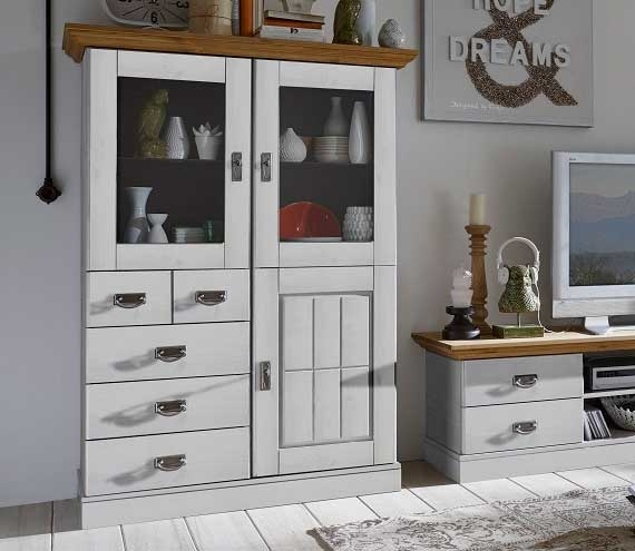Highboard Landhausstil Fjord mit Glastüren