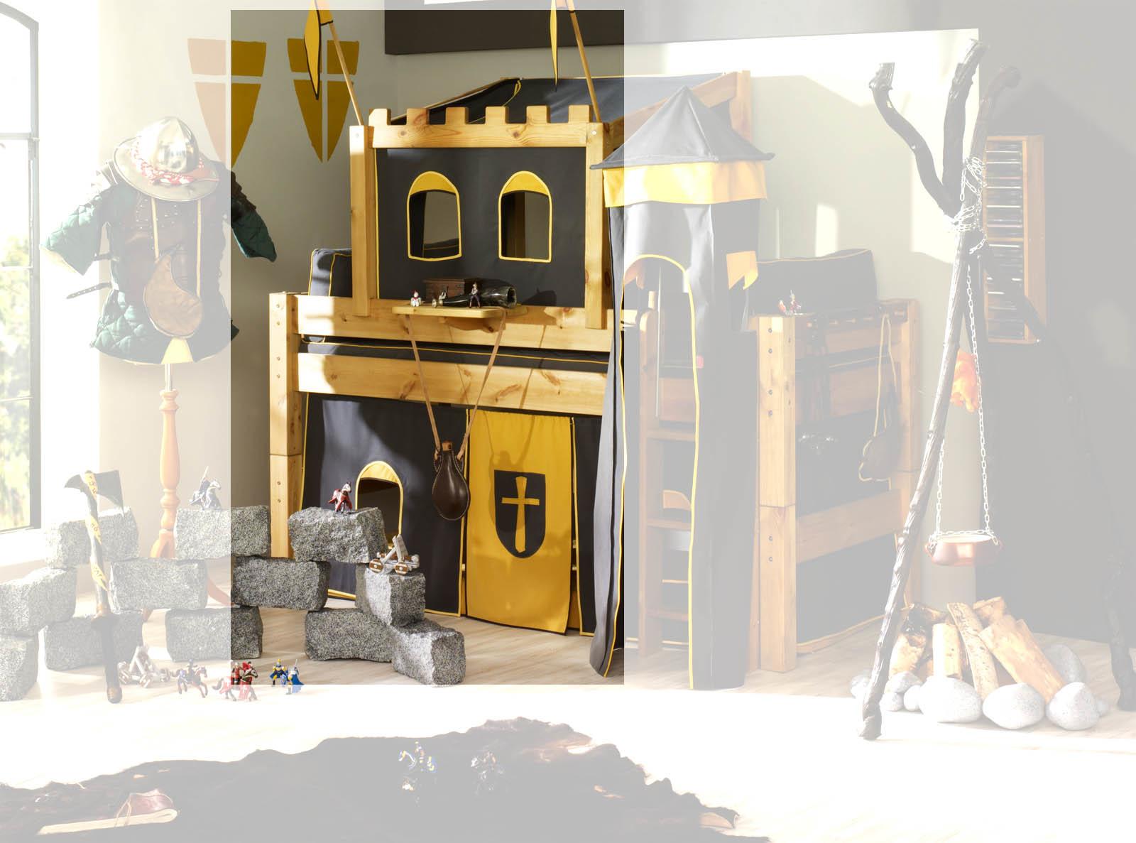 Etagenbett Holz Günstig : Hochbett ritterburg mit turm halbhochbett moby von günstig