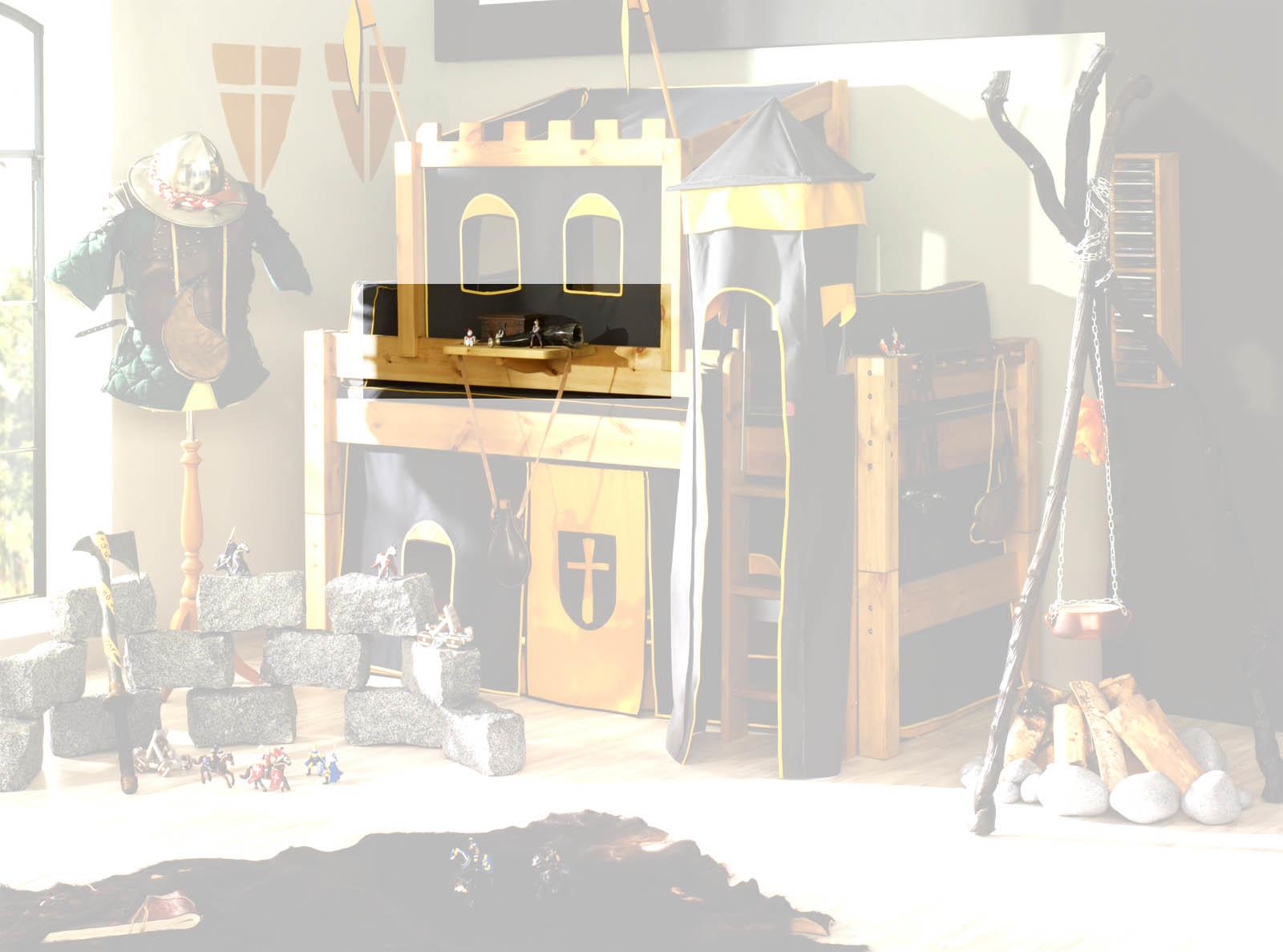 Etagenbett Ritterburg : Etagenbett sammy weiß mit bücherregal vorhang und er tunnel