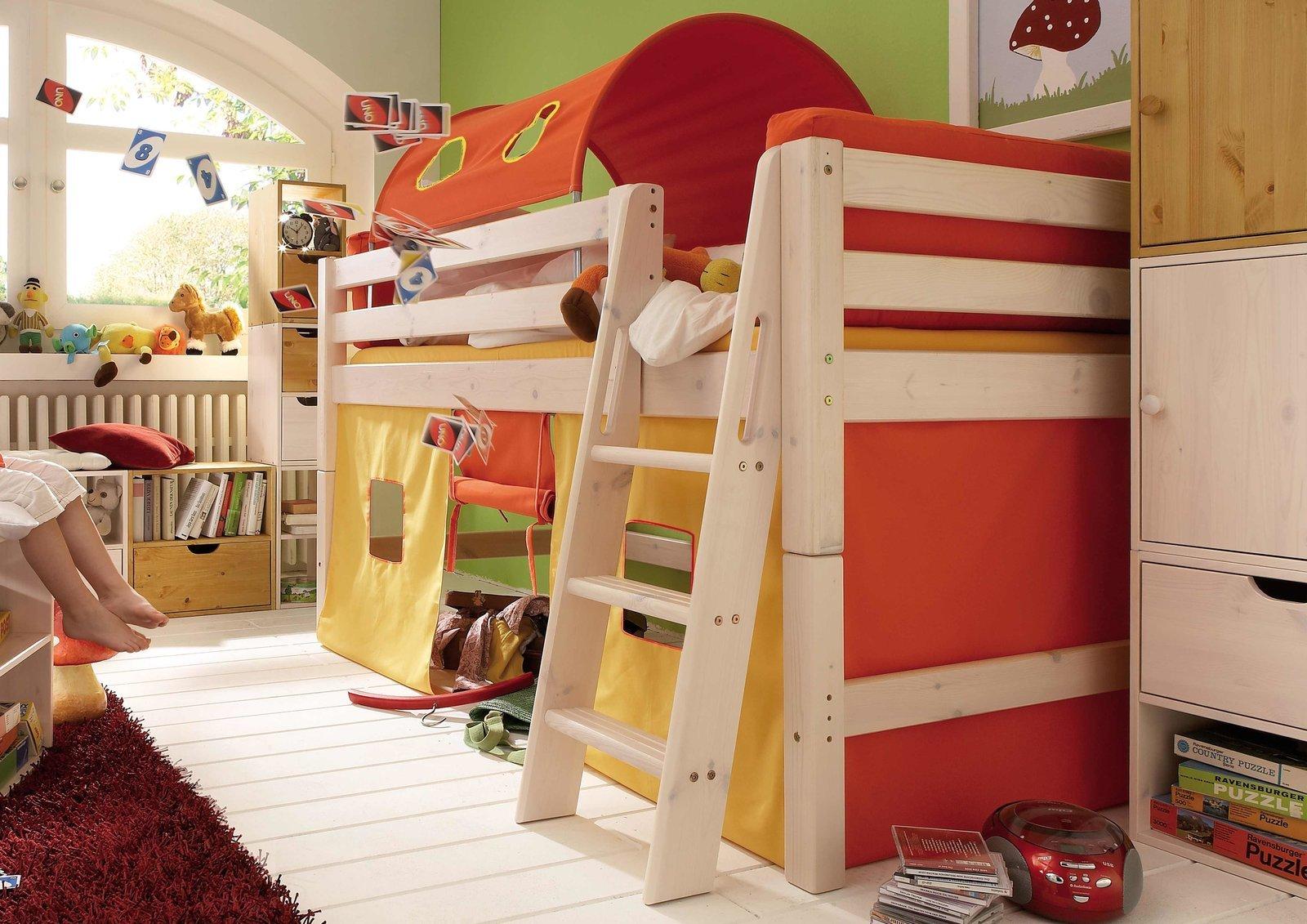 InfansKids Halbhohes Abenteuerbett mit Stoffset Orange, Bild 2