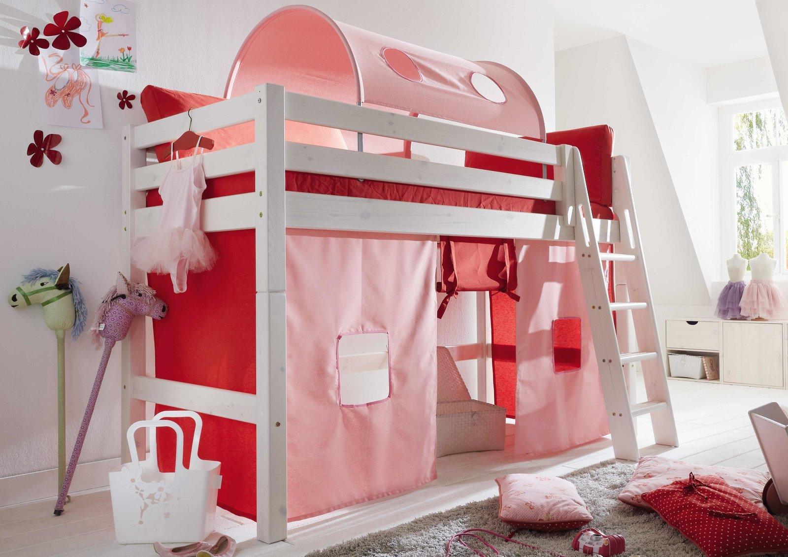 InfansKids Mittelhohes Abenteuerbett mit Stoffset Rosa, Bild 2