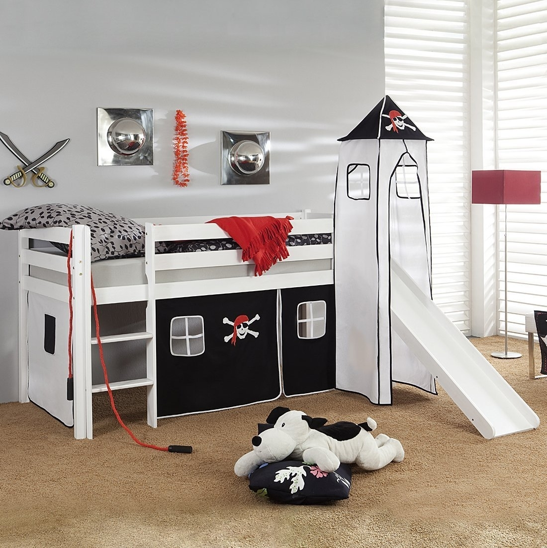 kinder hochbett aruba piratenbett mit turm und rutsche von. Black Bedroom Furniture Sets. Home Design Ideas