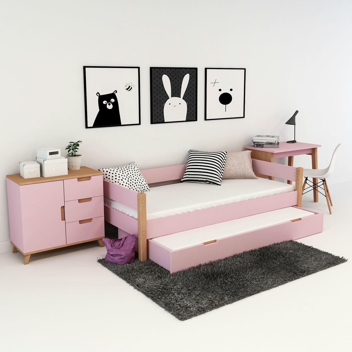kinderbett jugenbett colorland mit ausziehbarer g stebett. Black Bedroom Furniture Sets. Home Design Ideas