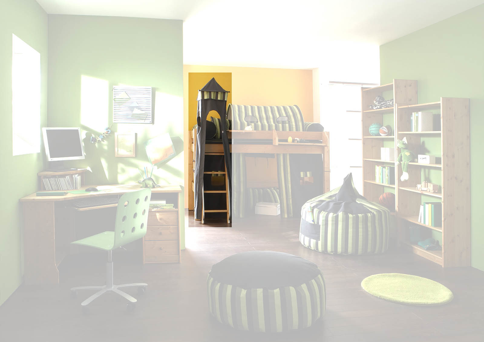 Kinderzimmer Hochbett Forest aus Massivholz, Bild 5