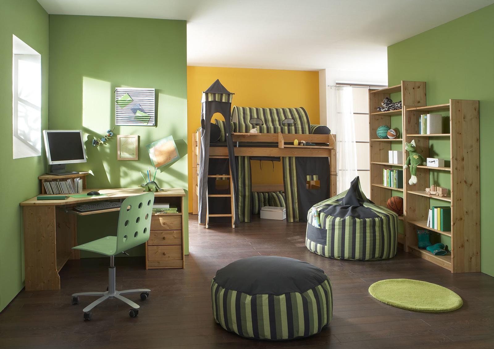 Kinderzimmer Hochbett Forest aus Massivholz