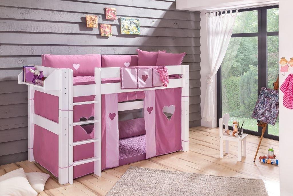 Kinderzimmer Rosa Herzen - Halbhohes Bett mit Leiter von Dolphin Moby