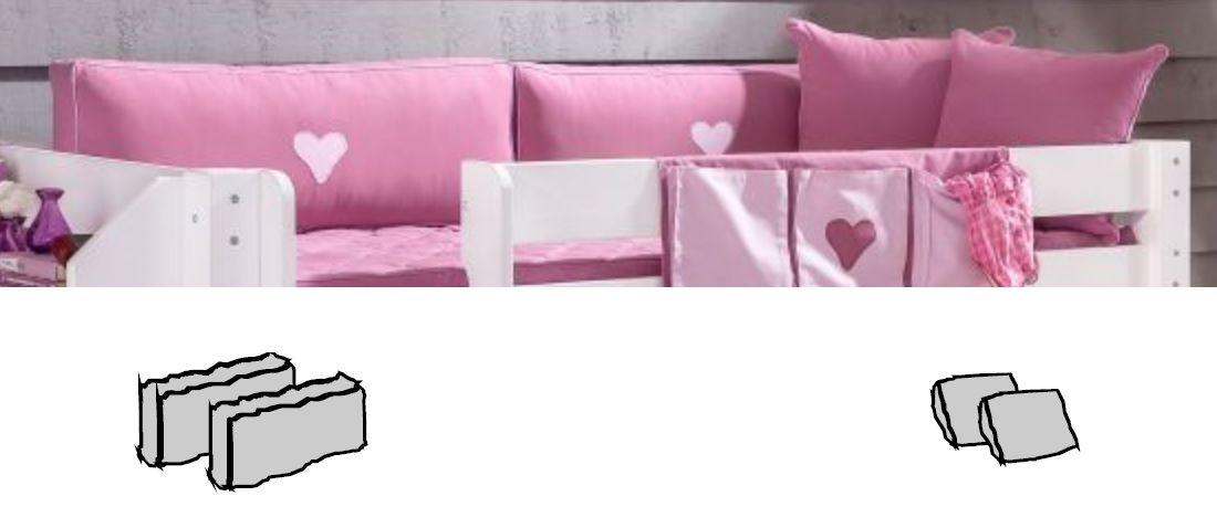 Kinderzimmer Rosa Herzen - Halbhohes Bett mit Leiter von Dolphin Moby, Bild 4