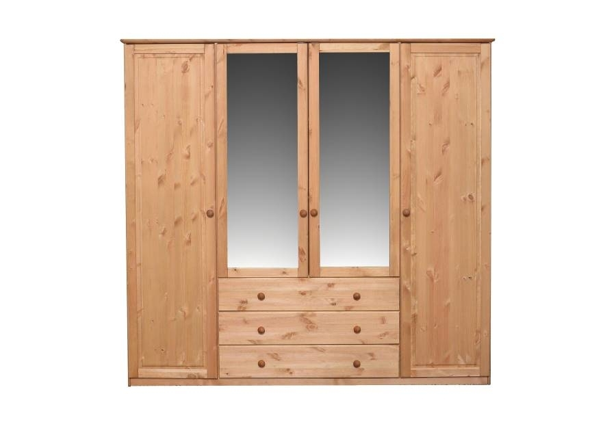 kleiderschrank 4 t rig mit spiegel jonas von pinus g nstig bestellen skanm bler. Black Bedroom Furniture Sets. Home Design Ideas