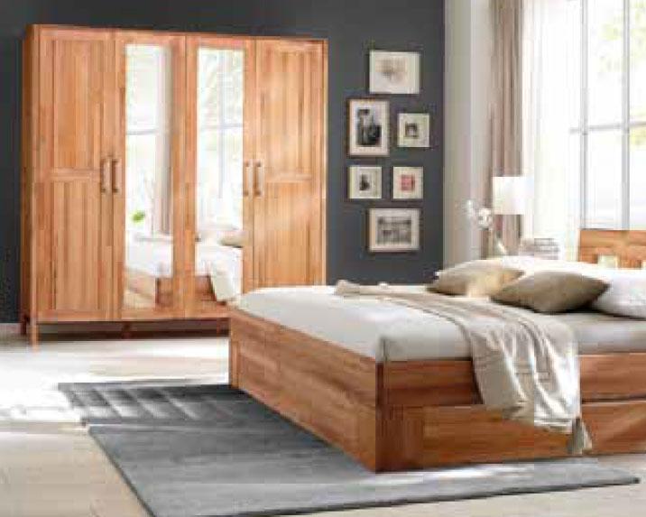 Kleiderschrank Massivholz Modern Zen mit Spiegeltür