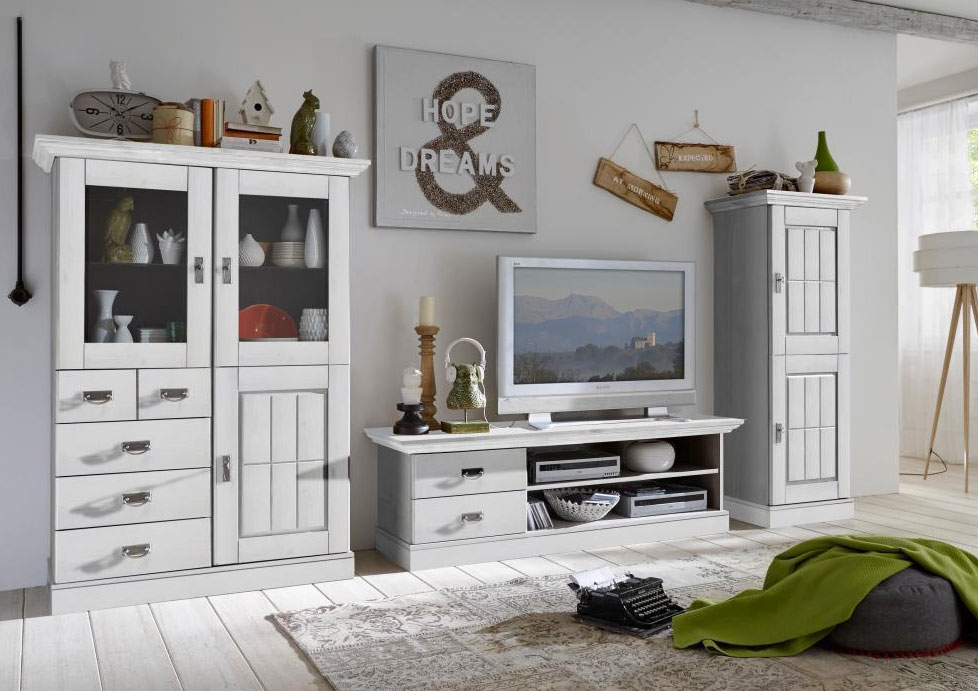 tv schrank landhaus lowboard fjord von jumek g nstig. Black Bedroom Furniture Sets. Home Design Ideas