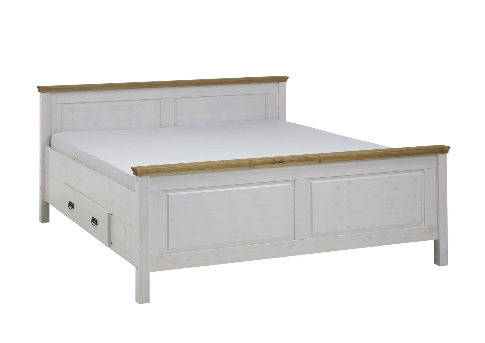 Massivholz Schlafzimmer Bett Landhausstil Harri weiß gelaugt geölt