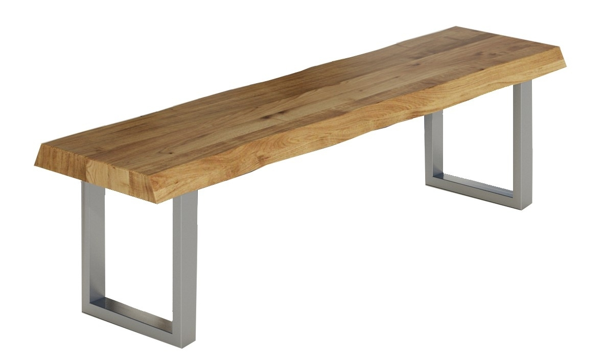 Massivholz Sitzbank Baumkante mit Chromgestell