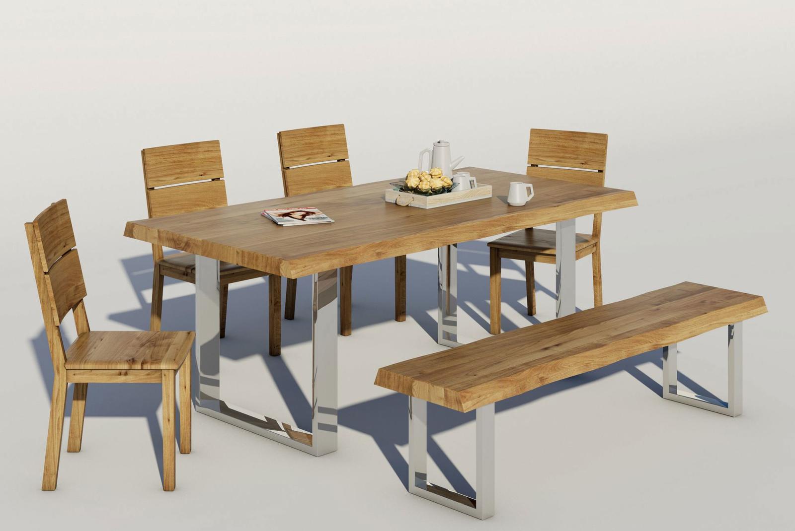Massivholz Sitzbank Baumkante mit Chromgestell, Bild 2