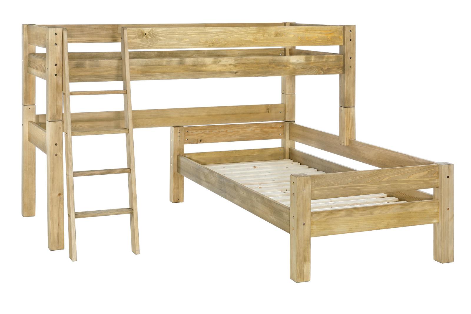 Moby Midisleeper Hochbett über Eck mit Leiter und 2 Betten