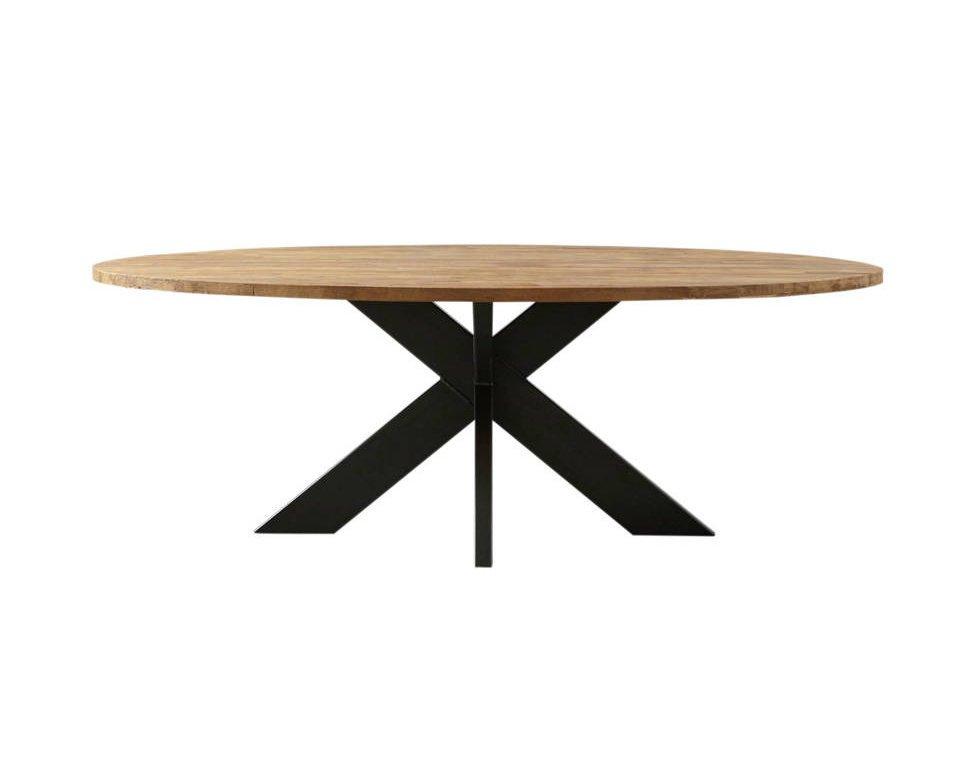 Ovaler Esstisch Teak Massivholz mit Metallfuß