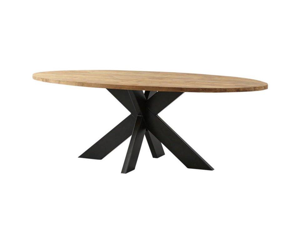 Ovaler Esstisch Teak Massivholz mit Metallfuß, Bild 2