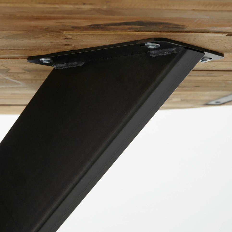 Ovaler Esstisch Teak Massivholz mit Metallfuß, Bild 3