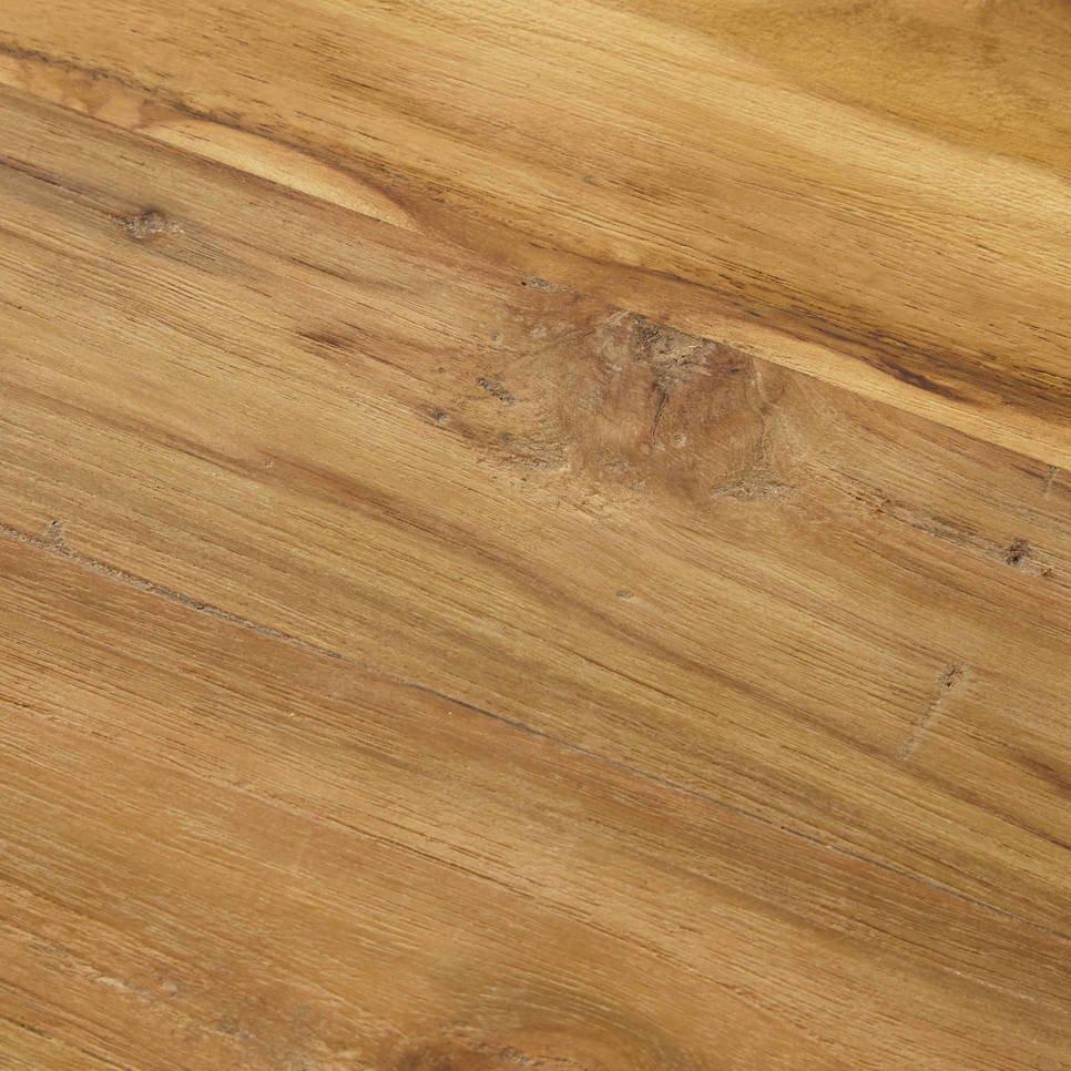 Ovaler Esstisch Teak Massivholz mit Metallfuß, Bild 4