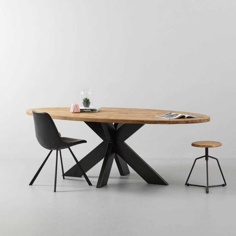 Ovaler Esstisch Teak Massivholz mit Metallfuß, Bild 5