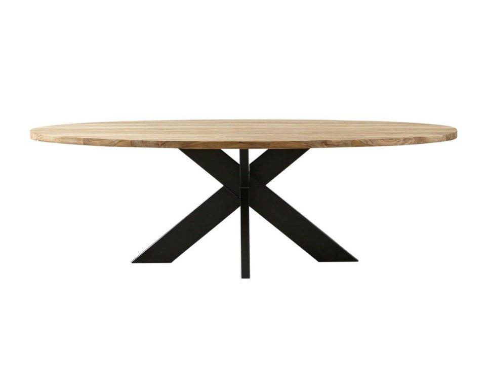 Ovaler Esstisch Teak Massivholz mit Metallfuß, Bild 6