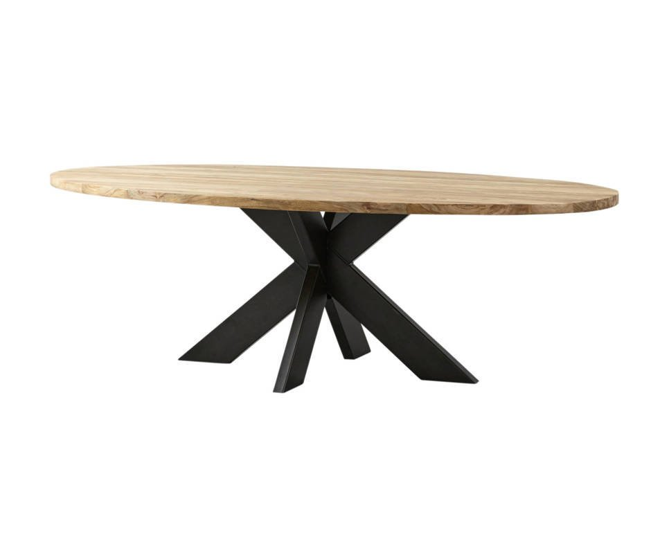 Ovaler Esstisch Teak Massivholz mit Metallfuß, Bild 7