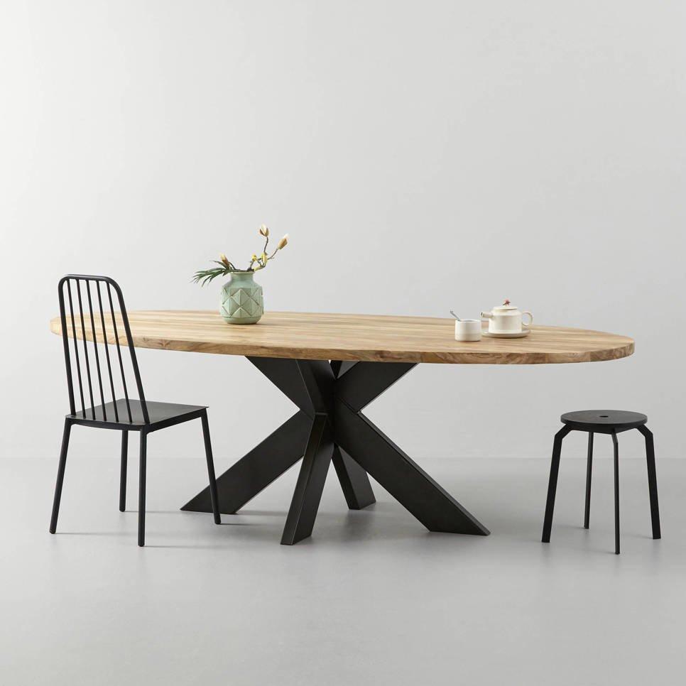 Ovaler Esstisch Teak Massivholz mit Metallfuß, Bild 8