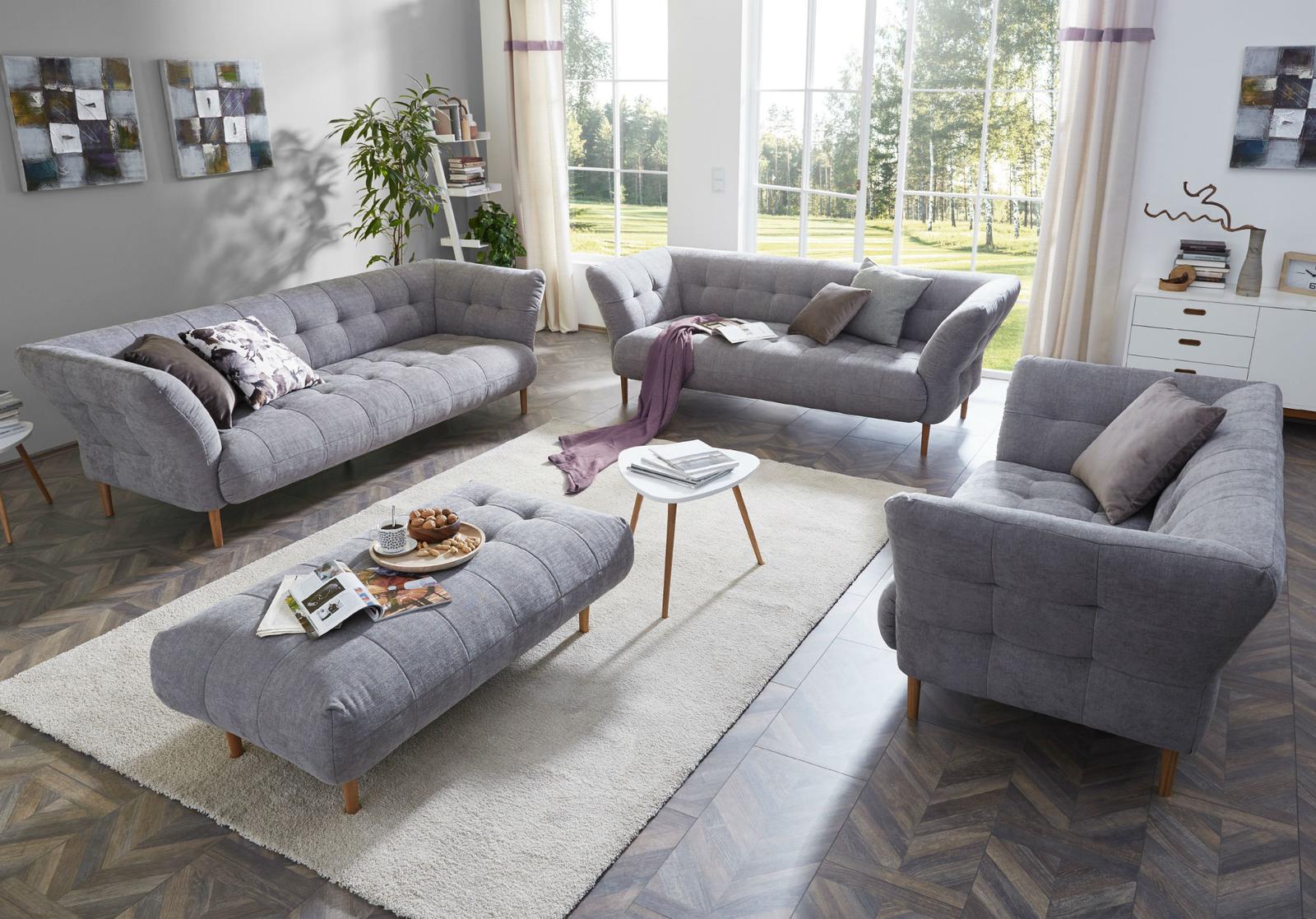 Polstermöbel Sitzgruppe Modern Landhaus, 8-Sitzer mit 8 Armlehnen 840 cm,  Yelda light grey